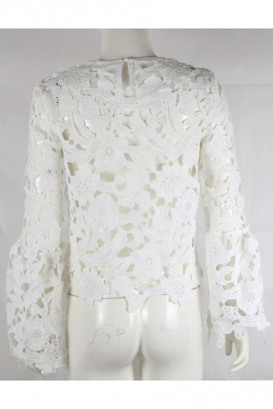 Fancy Floral Lace Panel Hollow Out Wide Sleeves Loose Cropped Blouse
