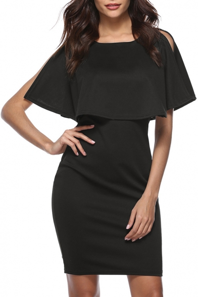 Fancy Round Neck Short Split Sleeves Plain Bodycon Mini Layered Dress
