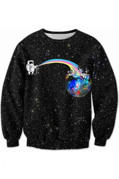 Fashion 3D Cartoon Starry Sky Print Long Sleeve Round Neck Pullover Sweatshirt