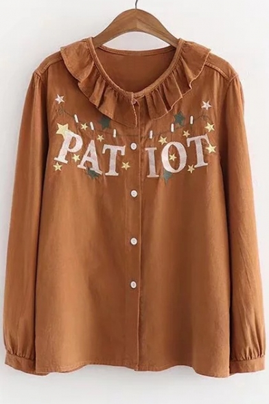 Long Collar Ruffle Pan Star Fashionable Letter Shirt Sleeve Embroidered Peter qX0cYtw