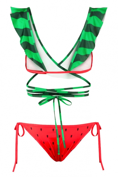 Ruffle V Pattern Tie Summer Bikini Neck Bow Girlish Waist Watermelon HfSqgg