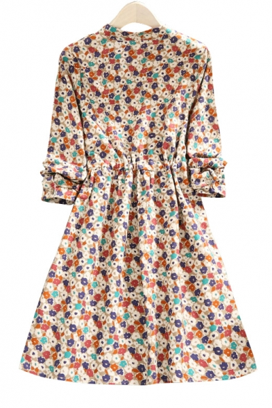 Dress Midi Round Floral Printed Lovely Waist Front Button Neck Drawstring OZzxP