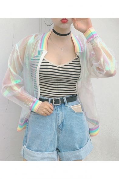 New Fashion Colorful Striped Stand-Up Collar Long Sleeve Zipper Sun Proof Coat