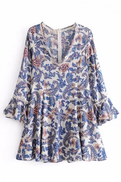 Peasant Style Floral Pattern V-Neck Zip-Back Bell Sleeves Flared Mini A-line Dress