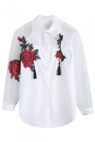 Stylish 3D Floral Rose Tassel Embellished Button Down Patchwork Shirt