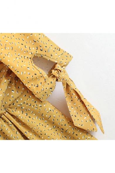 line A Midi Neck Dress Printed Down Sleeves V Stylish Button Bow wAqzOz4