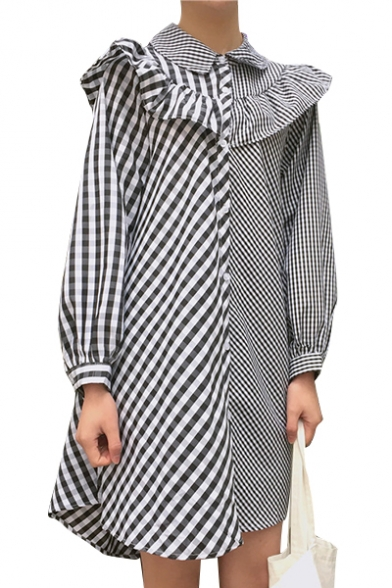 Stylish Striped Plaids Patchwork Lapel Ruffle Detail Button Down Mini Shirt Dress