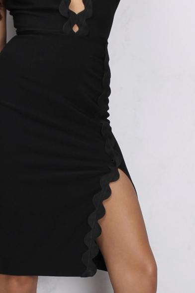 Summer Fashion Plunge Neck Split Side V-Back Slim-Fit Bodycon Midi Dress