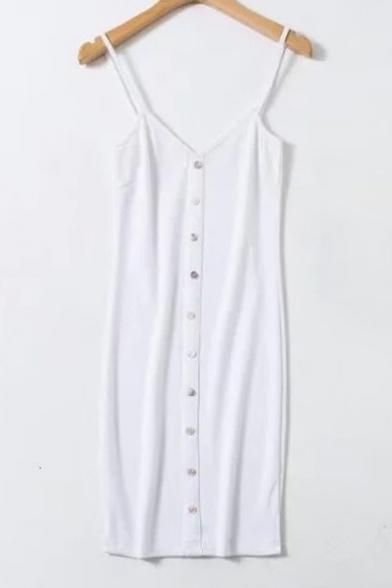 Trendy Spaghetti Straps Plain Button Down Plain Bodycon Cami Mini Dress