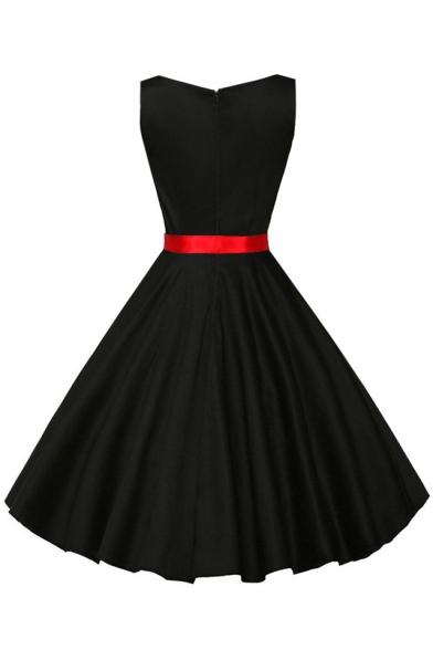 Vintage Bow Belted Plain Square Neck Zip-Back Fit & Flare Midi Dress