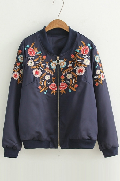 Chic Floral Embroidered Stand-Up Collar Long Sleeve Zipper Jacket
