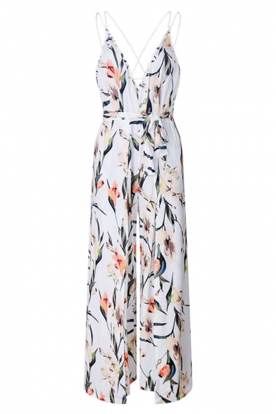 96d71a0c5f3a ... Chic Secy Open Back Floral Print Split Side Slip Jumpsuit ...