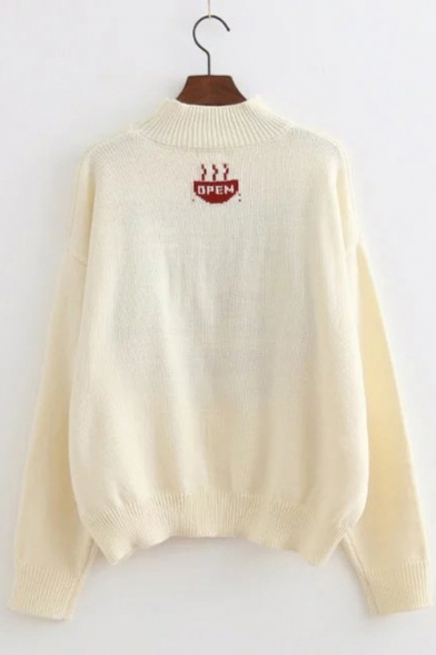 Long Letter Print Pullover Mock Sweater Neck Fashionable Sleeve q4U68w8R