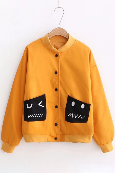 Купить со скидкой Monster Detail Pockets Stand Up Collar Buttons Down Long Sleeve Baseball Jacket