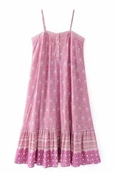 New Fashion Tribal Print Button Ruffle Slip Dress