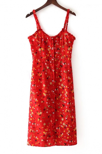 Floral Slip Button Ruffle Print Stylish Detail Dress New YwvR58x