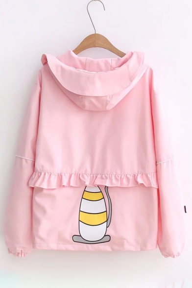 Pop Sleeve Print Up Cartoon Zip Long Detail Ruffle Coat Cat Hooded r8qrnxdIwO