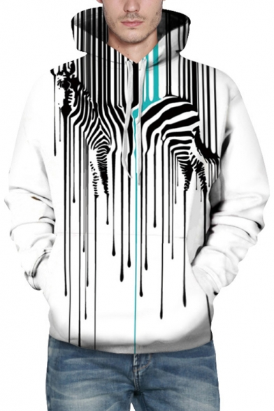 Sleeves Zebra Printed Pocket Long Popular Striped with Pullover Hoodie gFqddIw