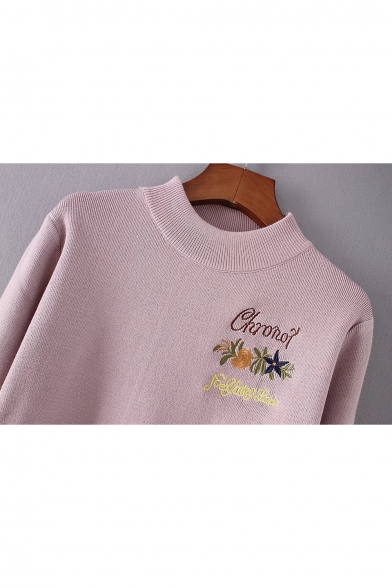 Letter Striped Pullover Neck Sleeves Long Embroidered Simple Floral Sweater Cuffs Crew dfSnXXR