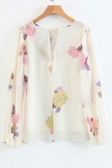 Spring Fashion V-Neck Floral Printed Hollow Bow Tie Back Blouse with Slim-Fit Cami