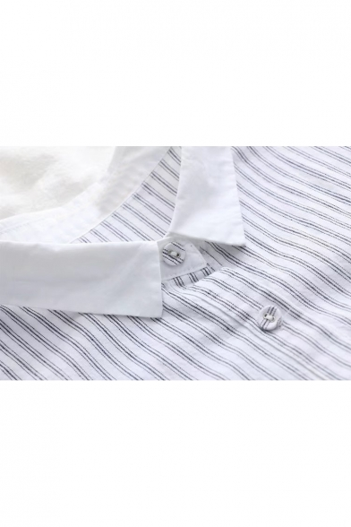 Collar Long Pocket Striped Chest Fish Contrast Down Button Pattern Point Stylish Shirt Sleeves XnxqO80Ix