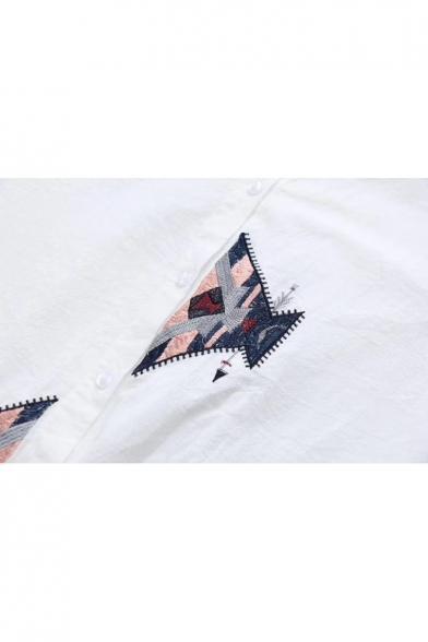 Stylish Long Dipped Embroidered Sleeves Hem Down Geometric Shirt Button zaqUwzZ