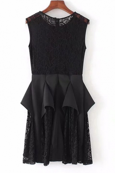 Stylish Plain Round Neck Lace Insert Ruffle Detail Tank Dress