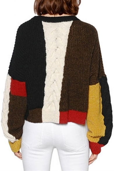 Trendy Ribbed Block Knitted Double Color Patchwork Sweater Pullover Notched Hem Sqrt1SwTa