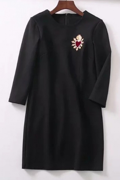 Trendy Heart Embroidered Round Neck Long Sleeve Dress