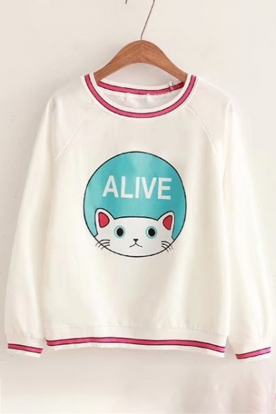 Adorable Cat Letter Cartoon Striped Trimmed Round Neck Long Sleeves Pullover Sweatshirt