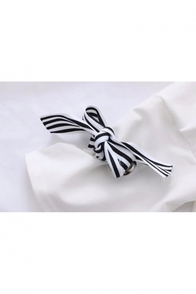 Shirt Detail T AND Sleeve Letter Bow Hooded Cuff Printed Half ZRzRqBvW