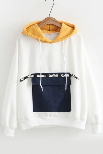 Chic Color Block Letter Pocket Embellished Long Sleeves Pullover Loose Hoodie, Pink;red;white;gray, LC460756