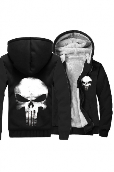 Print Block Color Skull Coat Sleeve Hooded Long Zipper Chic qtPBw6w