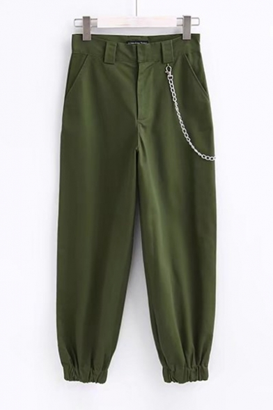 5a5acaa2e5c82c Cool Chain Embellished Zipper Fly Elastic Ankle Loose Tapered Pants -  Beautifulhalo.com