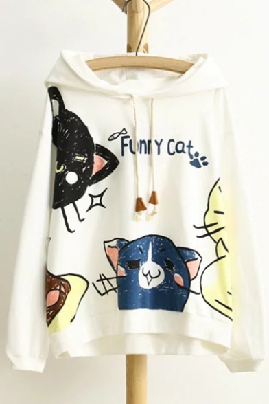 Printed Hoodie Cartoon Cats Sleeve Cute Long Letter Leisure Ptawxzq