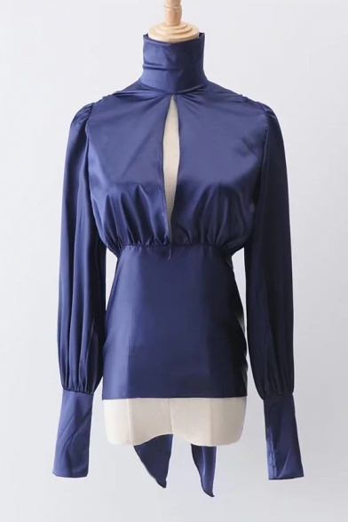 Fabulous High Neck Long Blouson Sleeves Cutout Hollow Bow Tie-Back Cropped Blouse