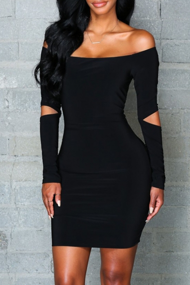 Fashionable Off Shoulder Hollow Out Long Sleeve Plain Bodycon Dress
