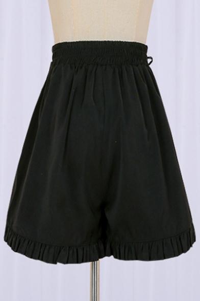 High Elastic Waist Plain Ruffle Hem Lace Up Embellished Side Loose Short