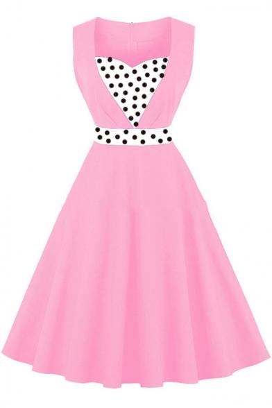 Color Block Print Fit & Flare Tank Dress