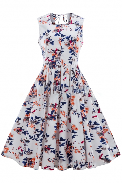 Ladylike Floral Pattern Square Neck Bow Tie Back Pleated Midi Fit & Flare Dress