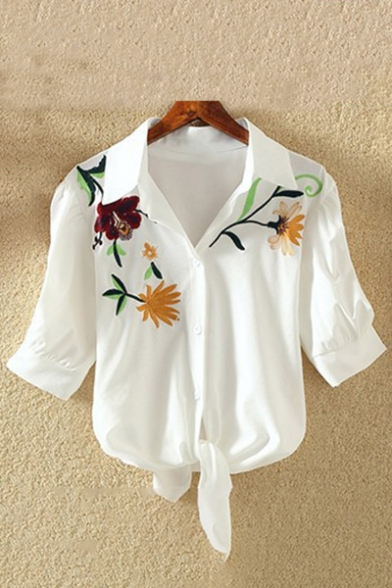 Tie Leisure Short Shirt Floral Sleeves Bow Button Lapel Embroidered Front Cropped 0q6qxZ