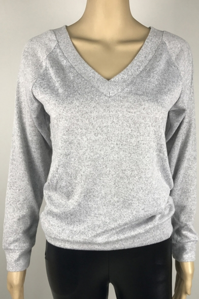 Leisure V-Neck Warm Fabric Long Sleeves Pullover Casual Sweater