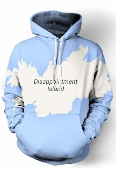 New Fashion Letter Map Print Drawstring Hood Long Sleeve Hoodie