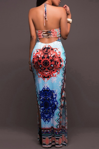 New Fashion Tribal Print Halter Neck Open Back Maxi Slip Dress