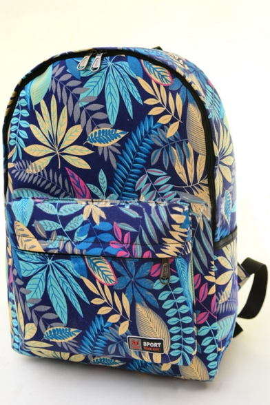 Popular Tropical Plants Printed Zippered Backpack Schoolbag
