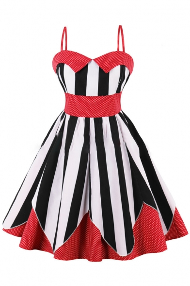 Retro Striped Polka Dot Print Fit & Flare Slip Dress