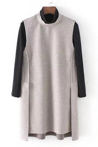 Simple High Neck Slim-Fit T-shirt with Bow Tie Back Plain Shift Dipped Hem Mini Dress
