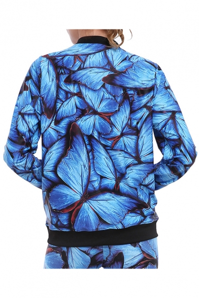 Spring with Jacket Contrast Butterfly Zippered Trim Pockets Pattern Fashion Bx0qf7wrB