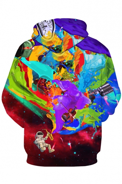 Stylish Astronaut Ink Splash Color Block Galaxy Printed Pullover Hoodie with Pocket