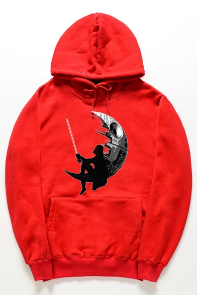Stylish Cartoon Moon Pattern Long Sleeves Pullover Hoodie with Pocket